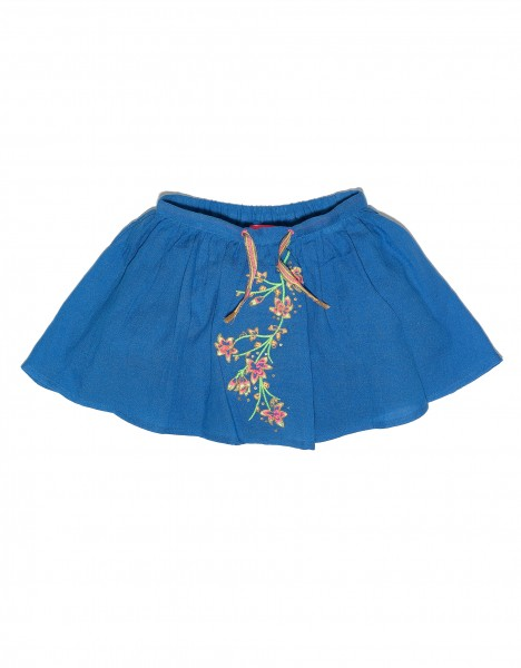 Skirt with flower embroidery - blue